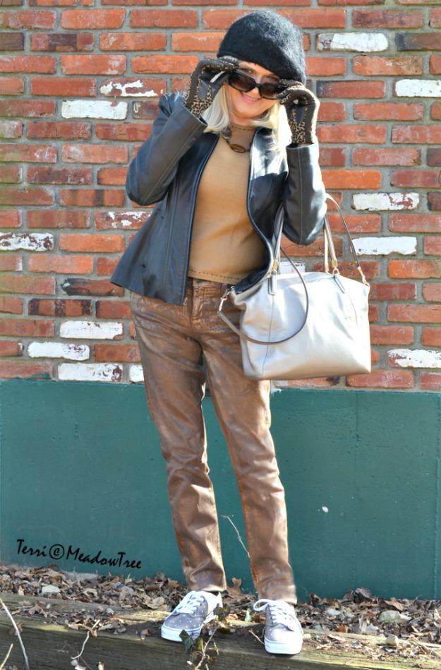 Terri Gardner in golden pants
