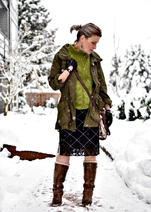 British Columbia fashion blogger with eclectic stylish winter outfit