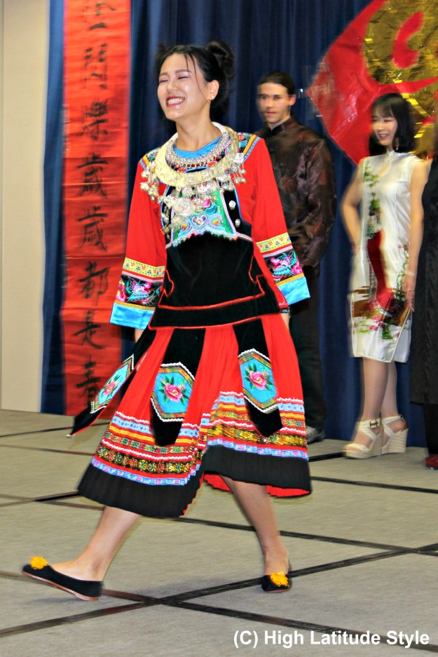 ethnic fashion woman in embroidered pleated skirt and top