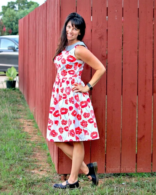 #styleover40 Erica T. at Rejoice for the Day in her self-made poppy dress