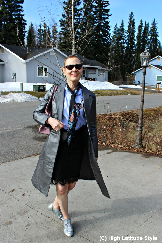 #fashionover50 Alaskan woman in posh chic spring outfit