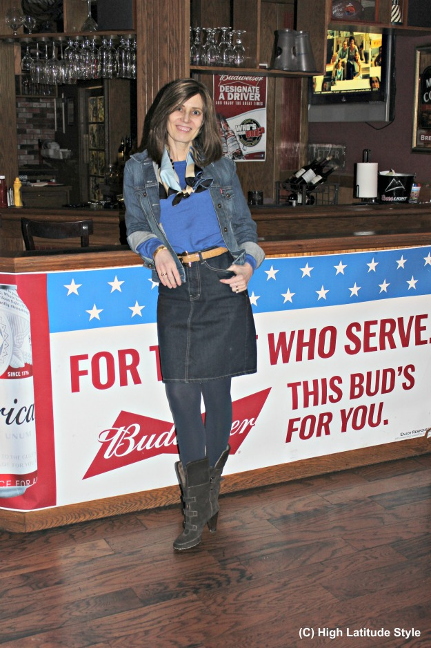 #fashionover50 woman in denim skirt suit