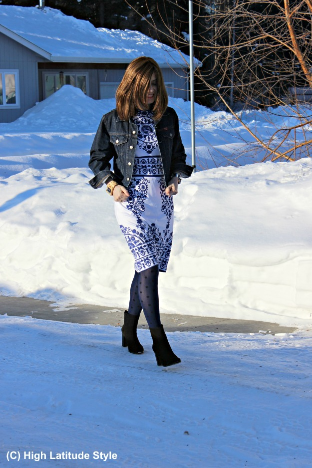 #maturestyle work outfit with blue and white dress under a blue jacket