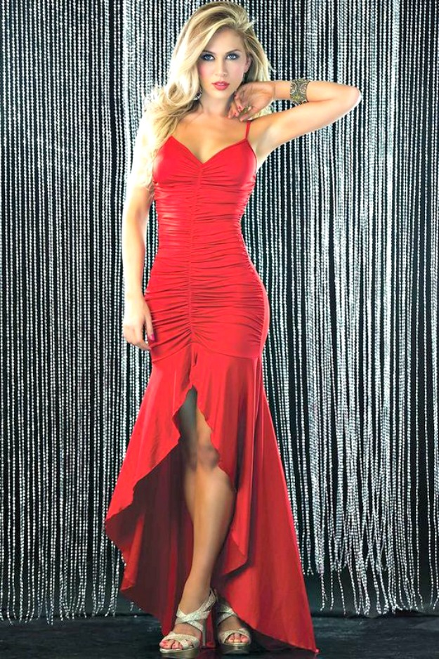 3 Wishes red ruched evening gown