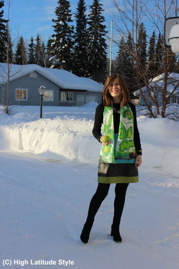 #Fashionover50 woman in work outfit with hand-made cloverleaves scarf