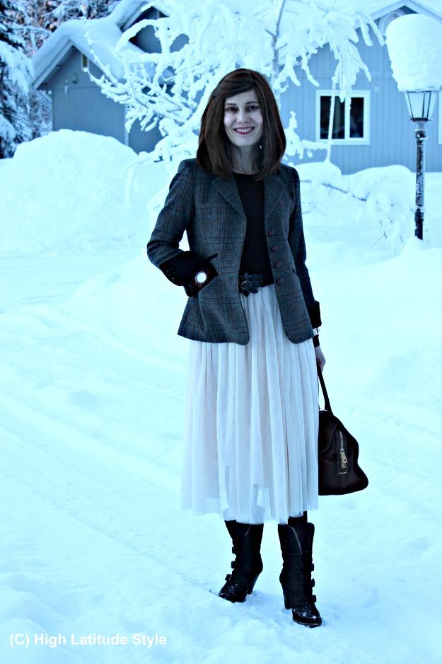 #fashionover50 mature woman in mesh skirt
