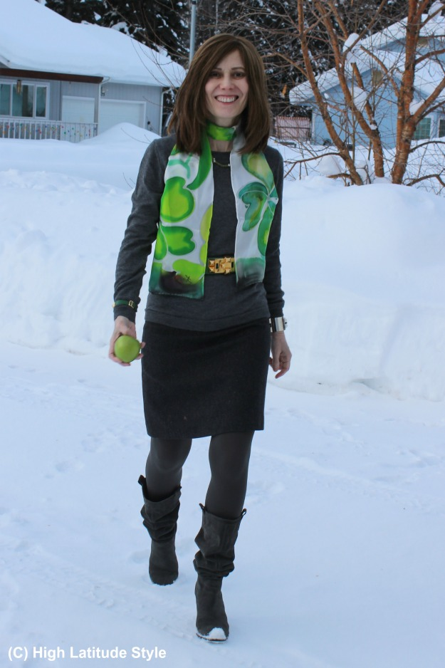 #styleover40 woman in monochromatic work outfit with a Shamrock scarf for a pop of colors