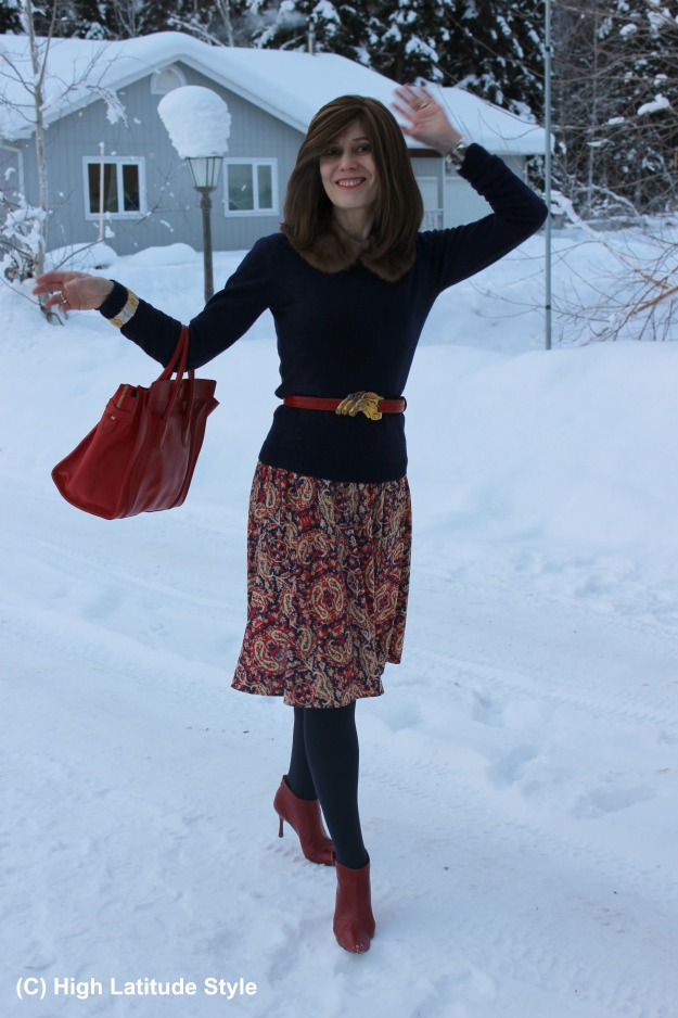 style over 40 woman in winter work outfit