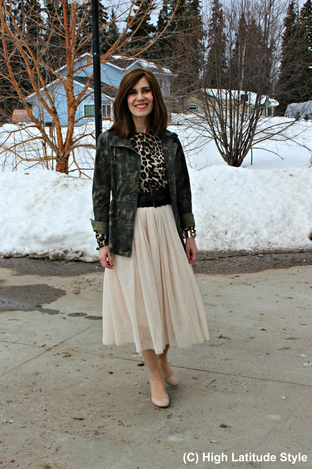 fashionover40 woman wearing leopard and camouflage in one outfit