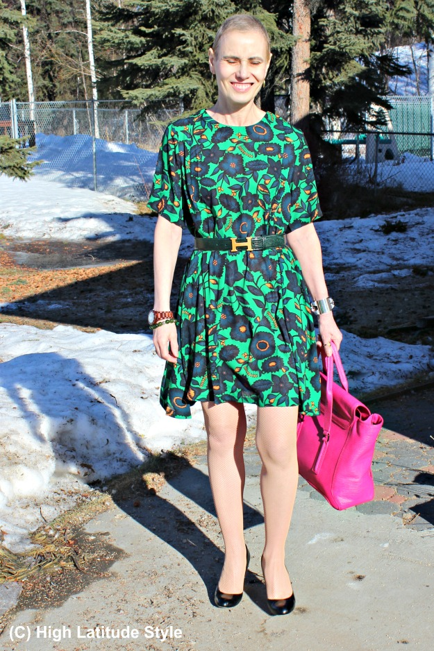 fashion blogger over 40 in abstract floral and paisley print look