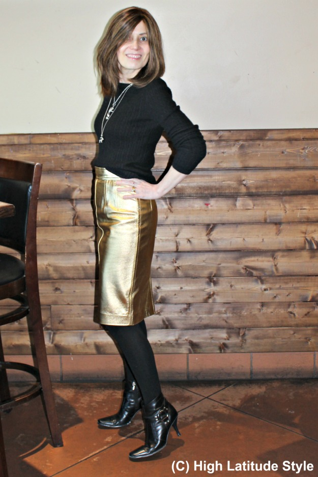 fashion over 40 woman in golden leather skirt