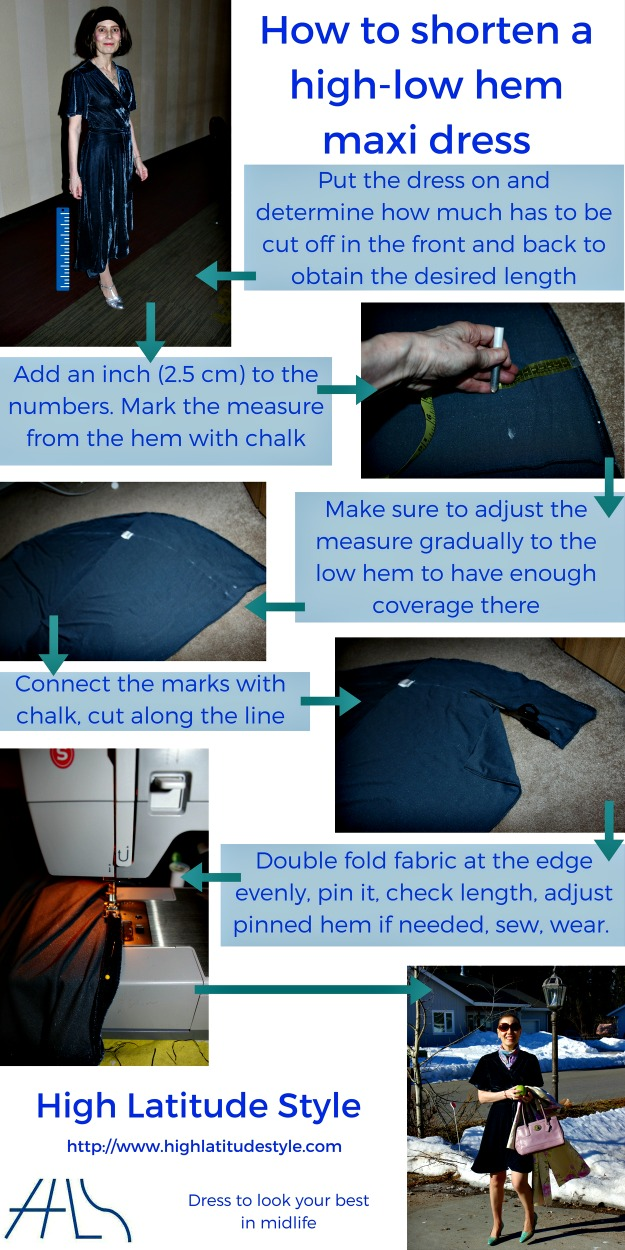 #DIY #tailoring infographic how to shorten a high low hem maxi dress to knee length