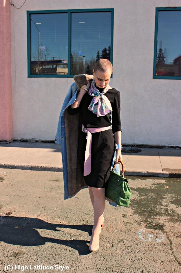 Fashion over 40 woman in LBD with Uno Alla Volta scarf