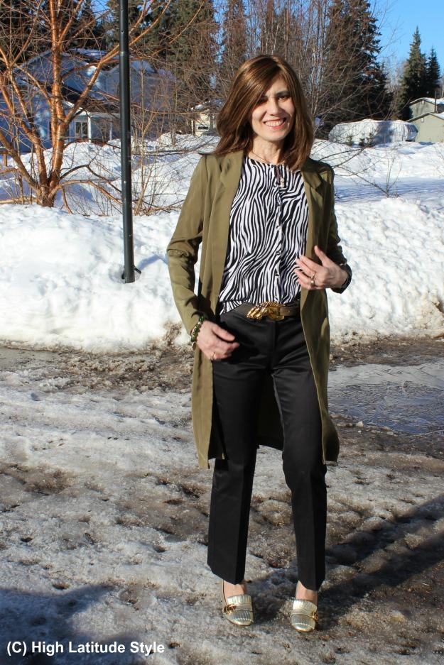 fashionover 50 woman with long blazer and pants