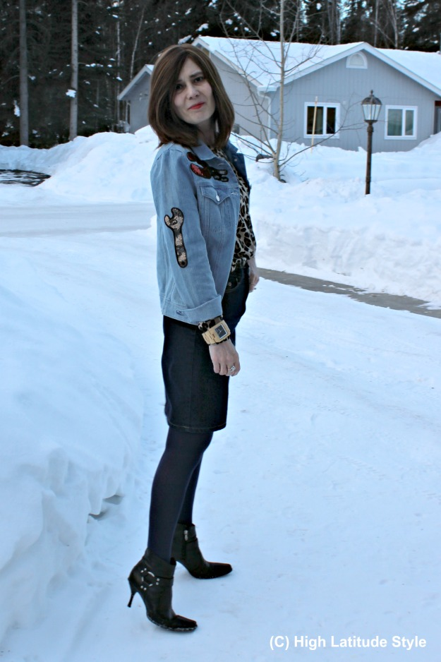 sequin patches on lightblue denim jacket to not look old
