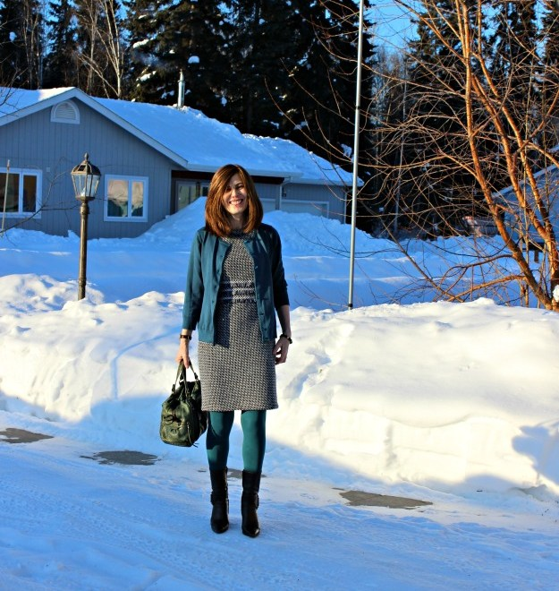 mature style winter work outfit with cardigan and tweed dress