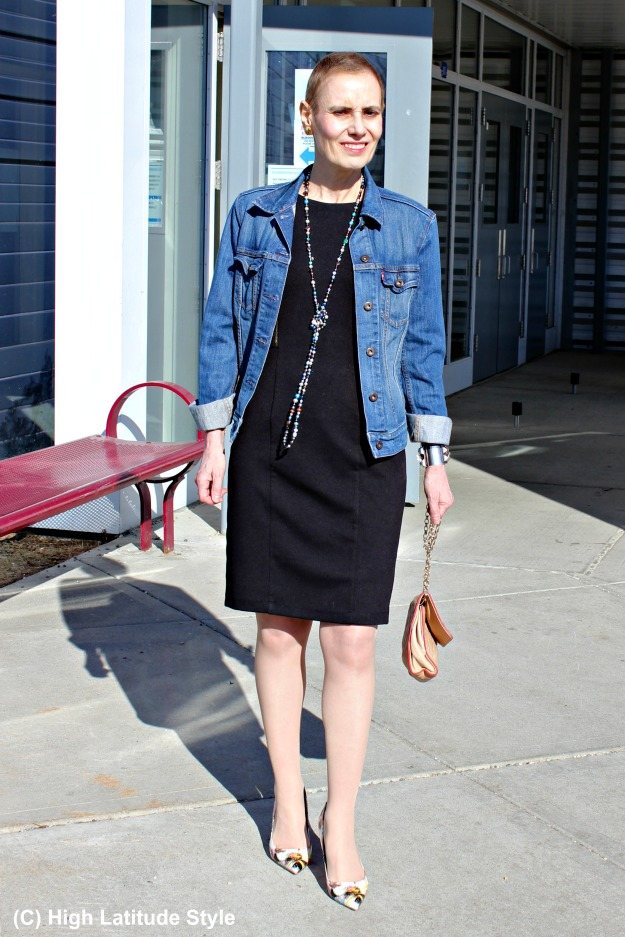 fashion over 40 woman in LBD with denim jacket