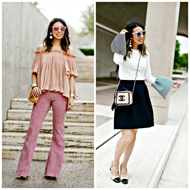 #fashionblogover40 Samantha S in pink and black and white