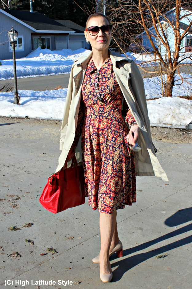 fashion over 50 woman in a work outfit with dress