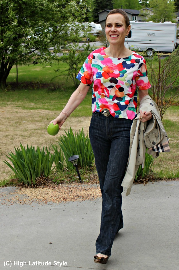 #fashionover50 woman in blouse and jeans