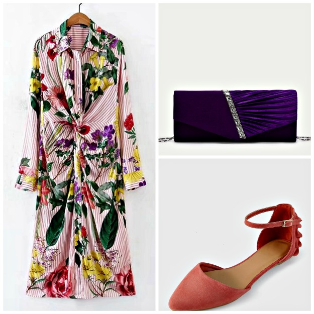 #afternoonweddingstyle shirt dress with floral print and stripes