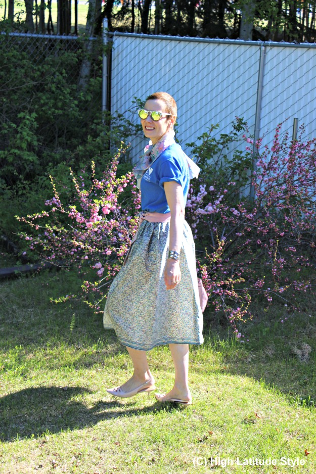 summer work look with DIY full skirt