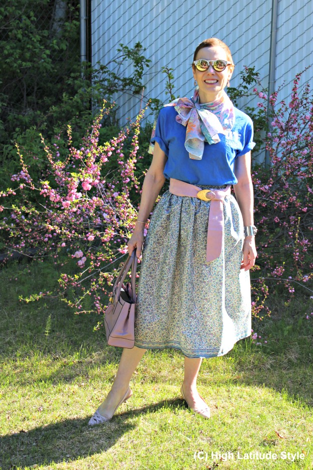 outfit in pastel colors with a full skirt made from an old sari
