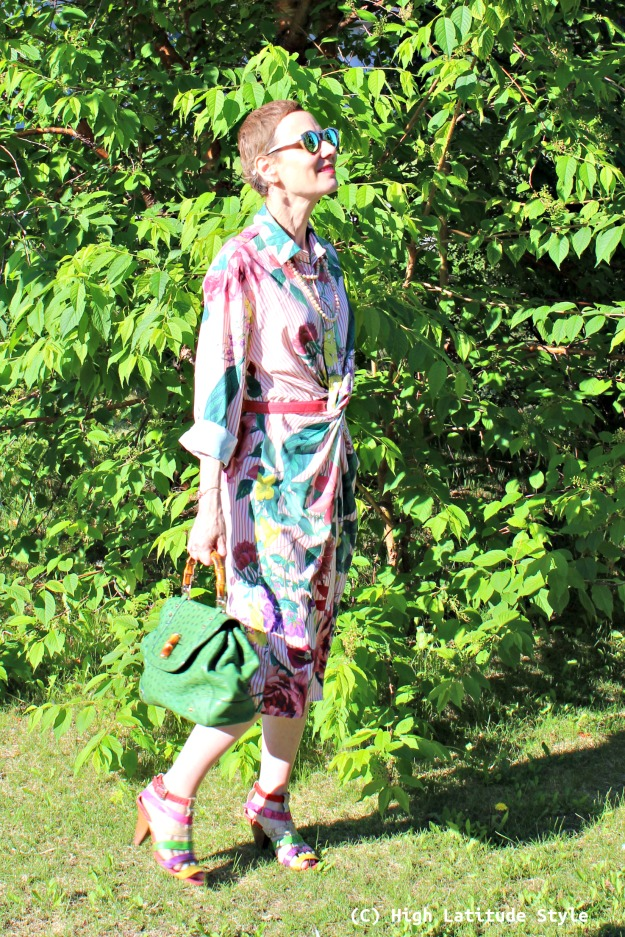 #fashionover50 woman in summer work outfit with a posh shirt dress