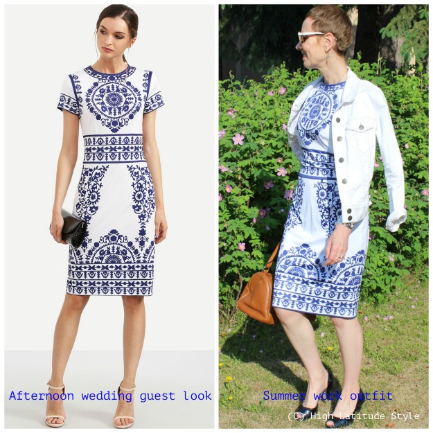 #styleover 40 Same dress two ways: Afternoon wedding guest, work outfit