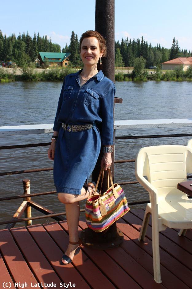 fashion book author in denim dress