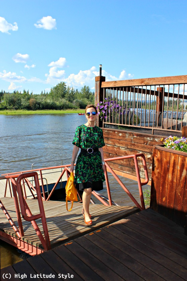 #fashionover50 midlife woman in dress over skirt on boat mooring