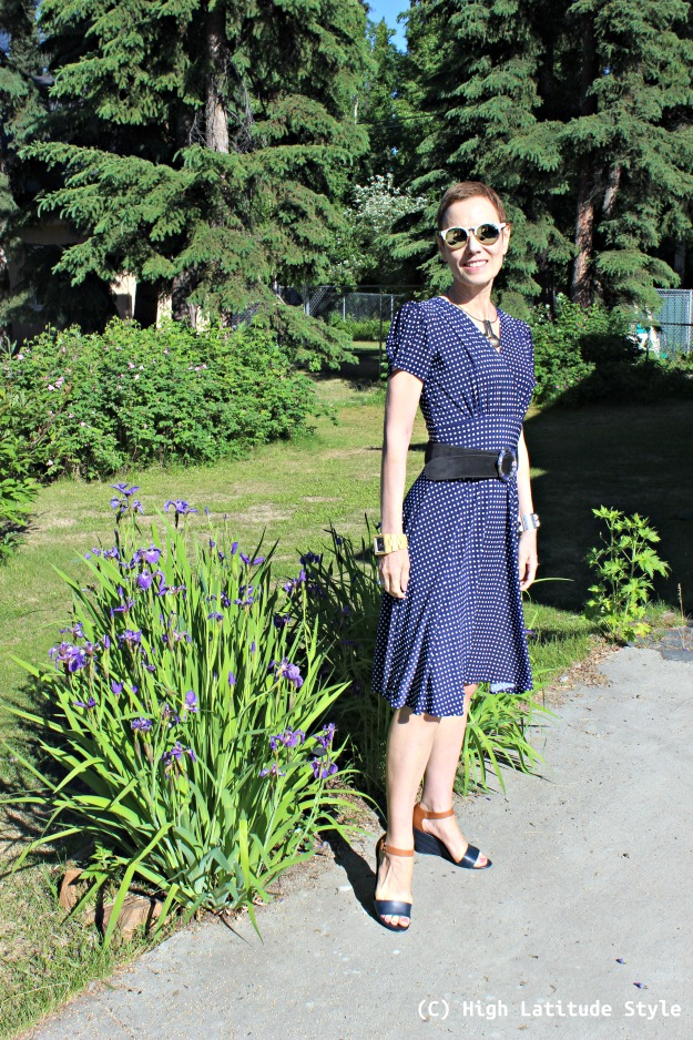 fashion blogger over 40 in a polka dot dress on Independence Day