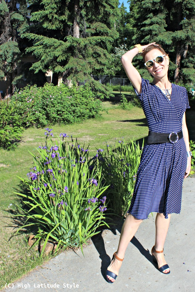 fashion blogger over 50 classic blue-and-white polka dot dress