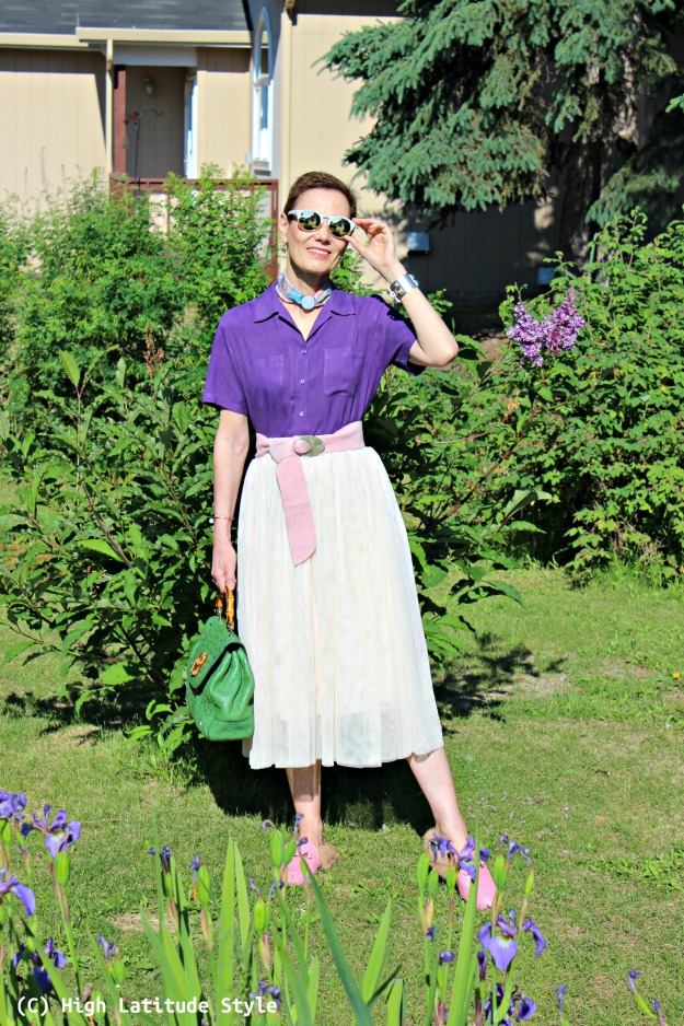 #fashionover40 woman purple blouse and blush mesh skirt