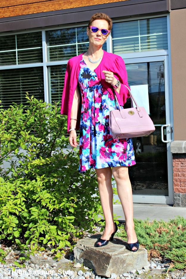 #fashionover50 woman in dress with cardigan