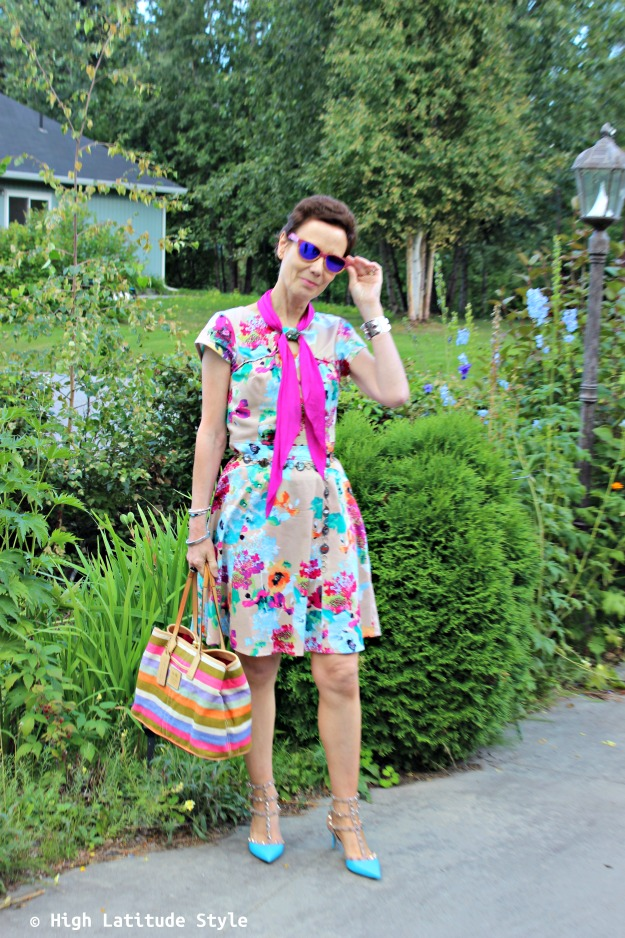 #Fashionover50 woman in colorful summer look