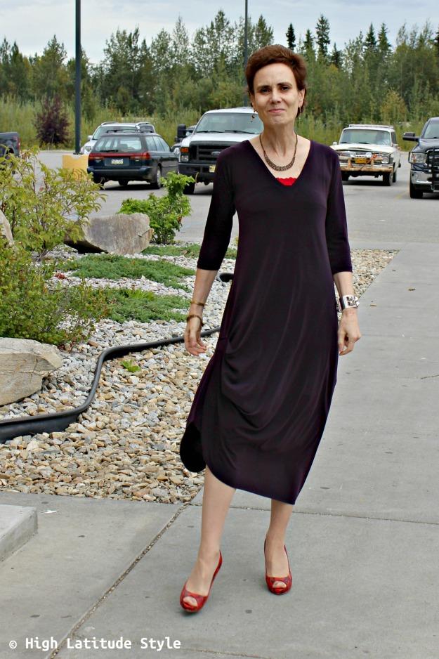 #fashionover40 blogger looking posh in a Sympli drama dress