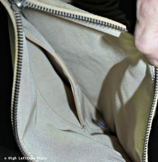 view into the Uno Alla Volta designer purse interior