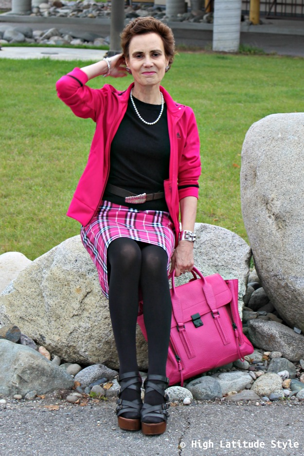 midlife woman looking posh in the plaid trend