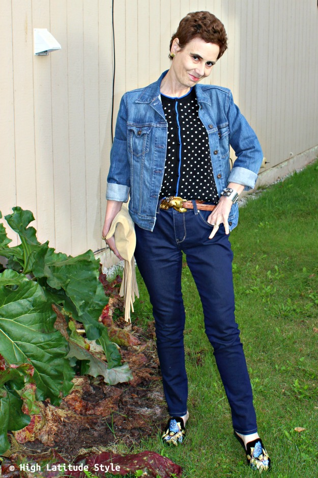 #falltrends fashionista wearing three fall must-haves fringe, polka dots and embroidery in one outfit