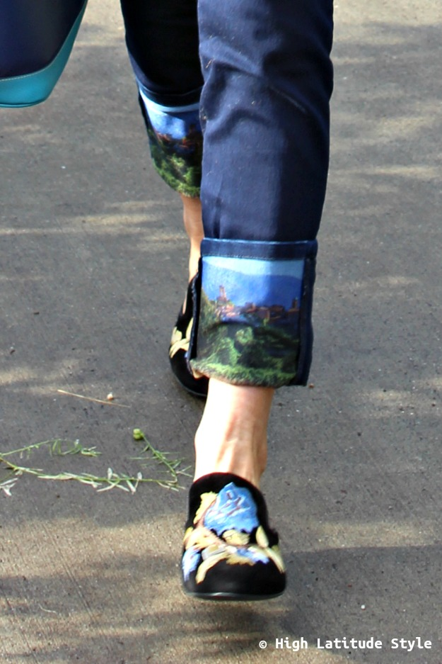 #shoesover40 embroidered mules and printed pants cuff