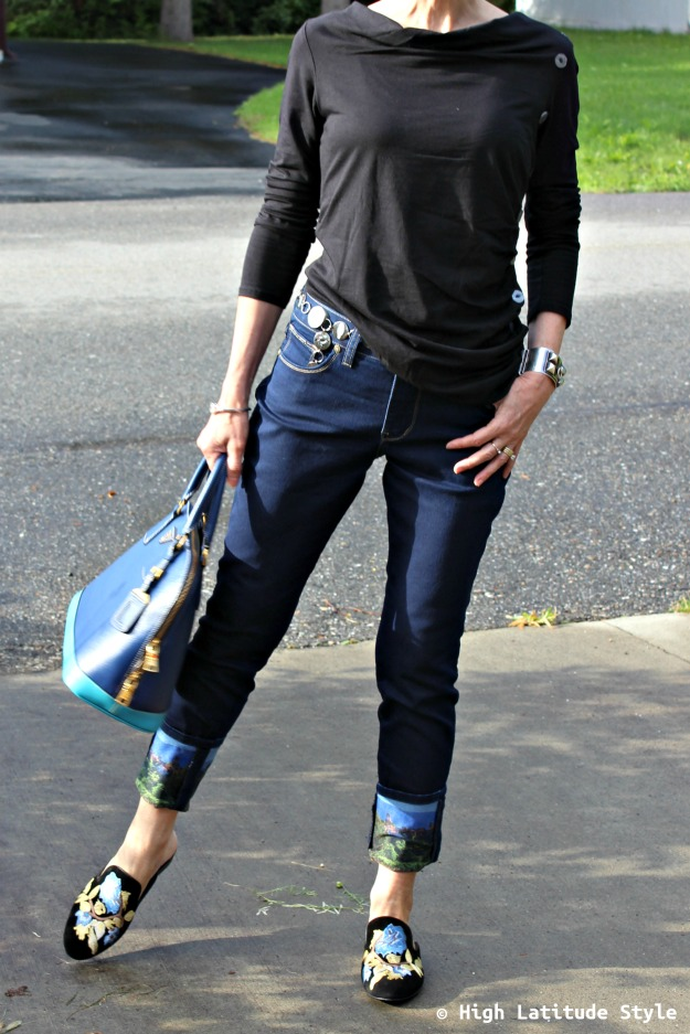 #fashionover50 fall weekend look with bf jeans and draped top