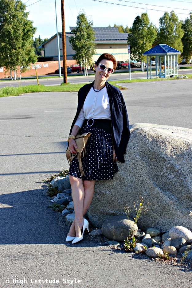 #fashionover40 woman in blue white fall work outfit with pieces from summer