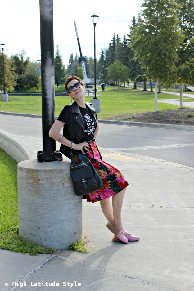 Fashionista wearing a summer skirt styled for fall