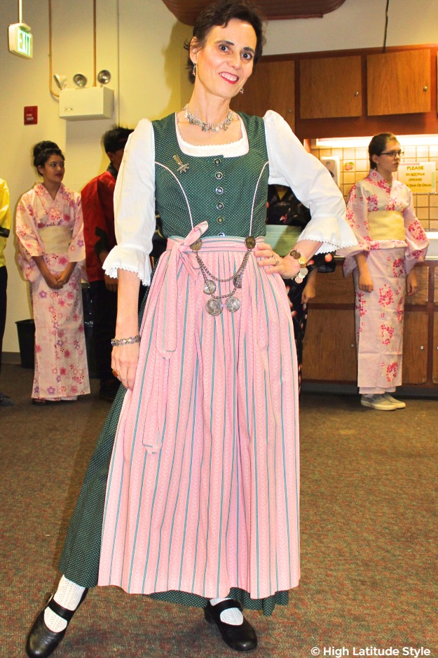 #midlifefashion woman looking posh chic in spruce colored dirndl