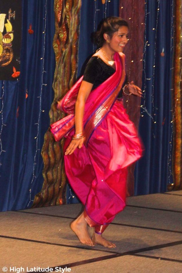 #Diwalioutfits young woman dancing at Diwali