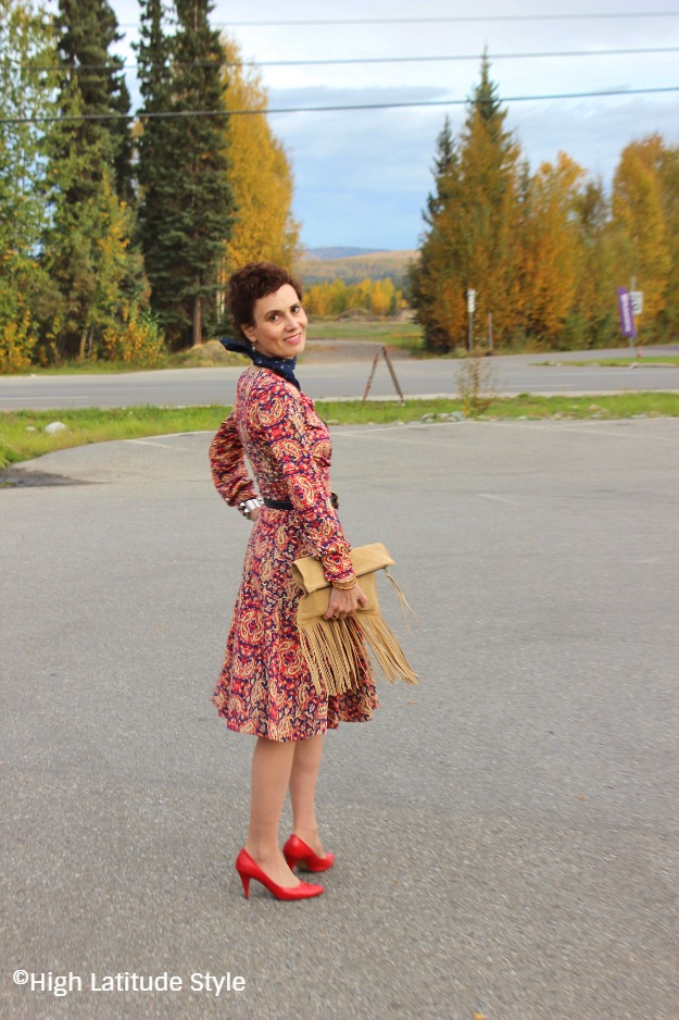 midlife woman in paisley dress