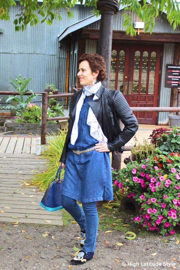 midlife woman in posh chic street style