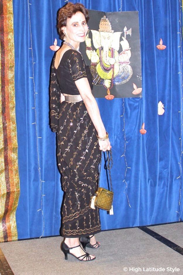 #fashionover40 midlife woman in embroidered saree