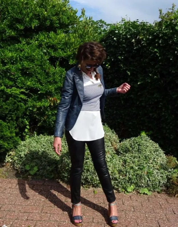 #fashionover40 woman in nappa blazer and leggings